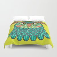 lime green Duvet Covers featuring owl - Lime green by bluebutton studio