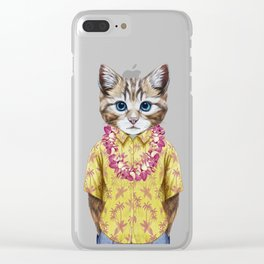 Portrait of Cat in summer shirt with Hawaiian Lei. Clear iPhone Case