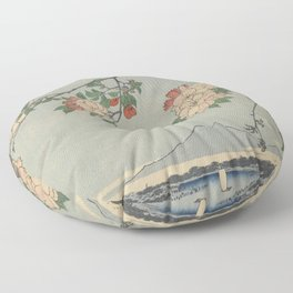 Cherry Blossoms on Spring River Ukiyo-e Japanese Art Floor Pillow