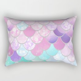 Mermaid Sweet Dreams, Pastel, Pink, Purple, Teal Rectangular Pillow