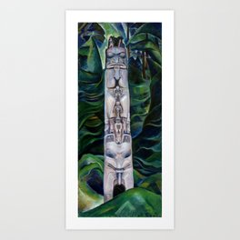 Emily Carr - Totem and Forest - Canada, Canadian Oil Painting - Group of Seven Art Print