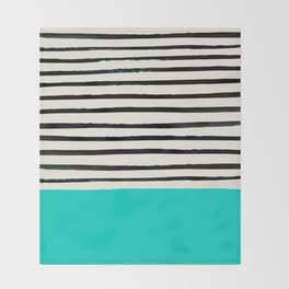 Aqua & Stripes Throw Blanket
