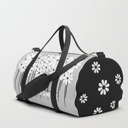 Flower Power in Black and White Duffle Bag