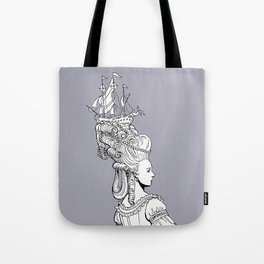 Girl With Ship Tote Bag