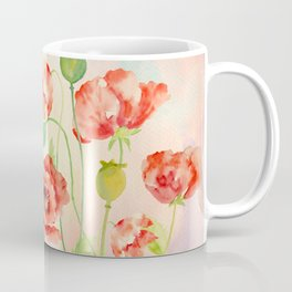 Watercolor Red Oriental Poppies Coffee Mug