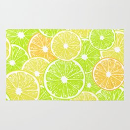 Lemon, orange and lime slices pattern design Rug