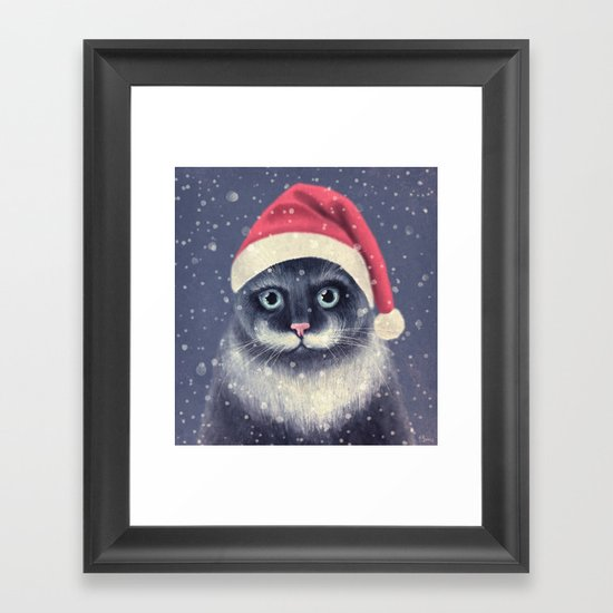 Christmas cat with a mustache Framed Art Print