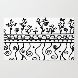 Strong Roots for Growth - Black and White Rug