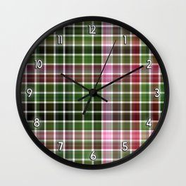 Pink Roses in Anzures 5  Plaid 2 Wall Clock