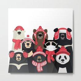 Bear family portrait: winter edition Metal Print