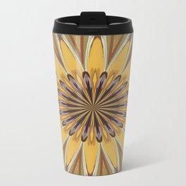 Yellow and Ochre Flower Pattern Abstract Travel Mug