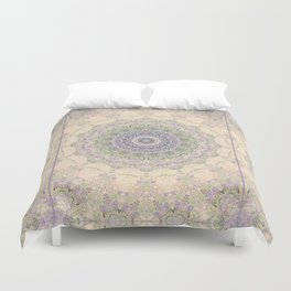 32 Wisteria Pine Loop -- Vintage Cream and Lavender Purple Mandala  Duvet Cover