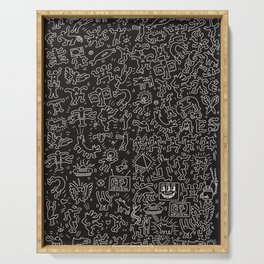 Doodles Homage to Keith Haring Black Serving Tray
