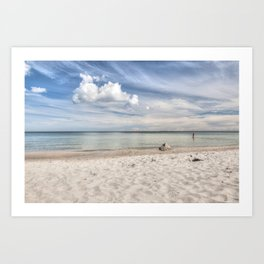 Dream beach Sea Ocean Summer Maritime Navy clouds Art Print