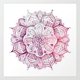 Burgundy Blush Watercolor Mandala Art Print