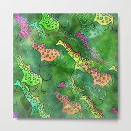 Giraffe Watercolor Metal Print