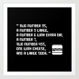 Big Smoke's Order (2 number 9s) gta san andreas drive thru mission typography text with burger icon Art Print