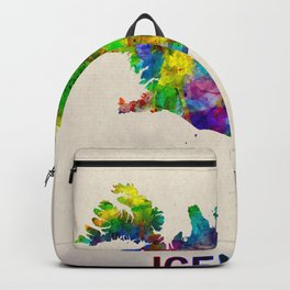Iceland Map in Watercolor Backpack