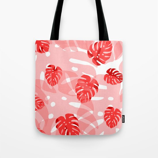 red monstera Tote Bag