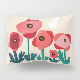 Poppy flowers and bird Pillow Sham