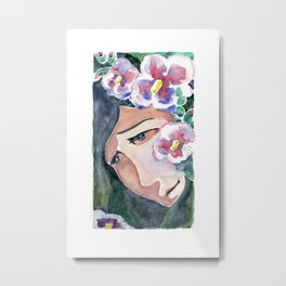 Girl portrait in flowers mallow. Рensive girl face. She dreams in the shade of a blooming garden. Metal Print