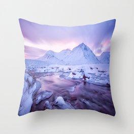 Freezing Mountain Lake Landscape Throw Pillow
