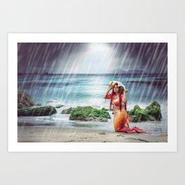 Mermaid caught in a storm Art Print
