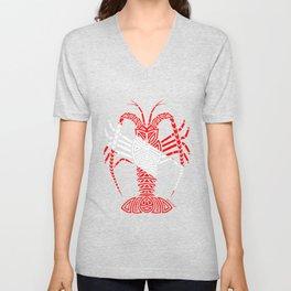 Tribal Caribbean Scuba Lobster Unisex V-Neck