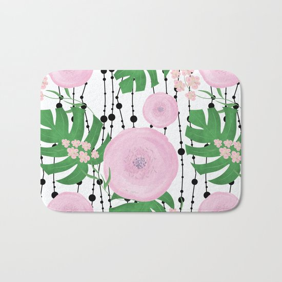 Pink flowers on a white background with black beads. Bath Mat