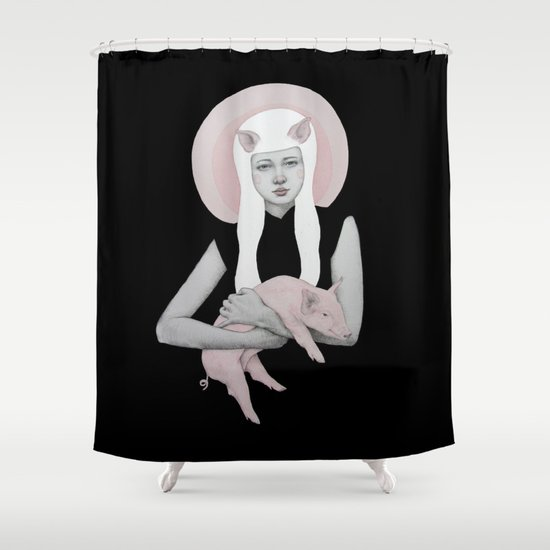 Peonia in Black Shower Curtain