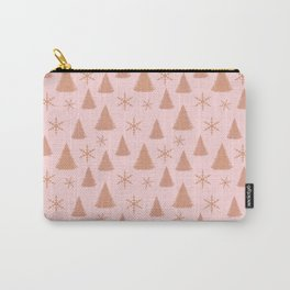 Rose Gold Glitter Christmas Tree Pattern Carry-All Pouch