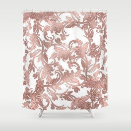 Chic girly rose gold glitter floral Shower Curtain