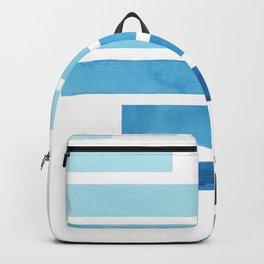 Cerulean Blue Minimalist Mid Century Modern Inca Watercolor Stripes Staggered Symmetrical Pattern Backpack