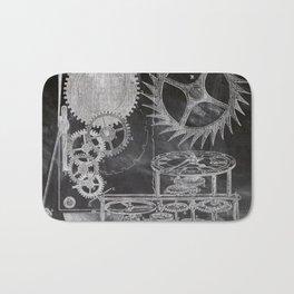 black and white vintage patent print chalkboard steampunk clock gear Bath Mat
