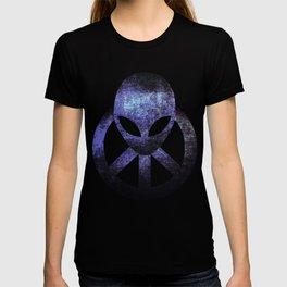 Psychedelic Hippie Alien Aqua Peace Sign Gift  design T-shirt