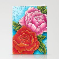 peonies Stationery Cards featuring peonies by missfortunetattoo