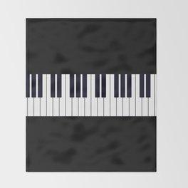 Piano Keys - Black and white simple piano keys pattern minimalistic music themed artwork Throw Blanket