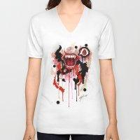 vampire V-neck T-shirts featuring Vampire by Daniel Savoie