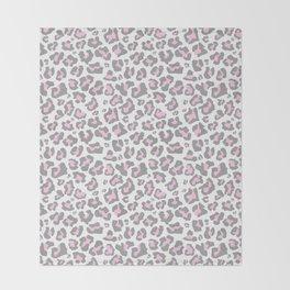 Pastel pink gray vector modern cheetah animal print Throw Blanket