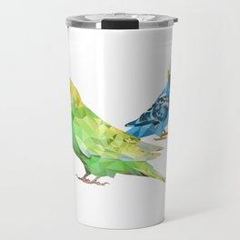 Geometric green and blue parakeets Travel Mug