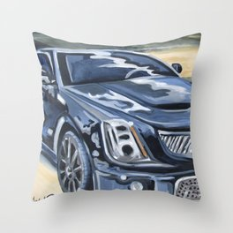 Black on Black {Cadillac CTS Painting} Throw Pillow