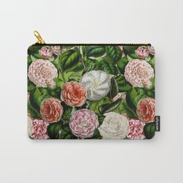 Vintage & Shabby Chic Green Dark Floral Camellia  Flowers Watercolor Pattern Carry-All Pouch