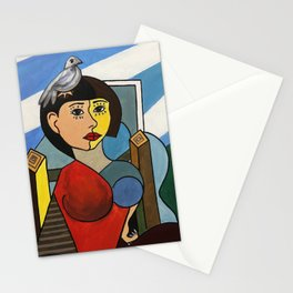 Girl with Bird in the style of Pablo Picasso Stationery Cards