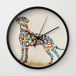 Rhodesian Ridgeback Dog Typography Art / Watercolor Painting Wall Clock