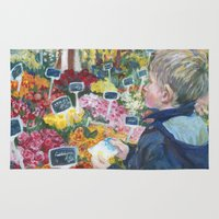 shopping Area & Throw Rugs featuring flowers shopping by Maiko Horita