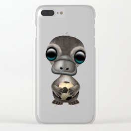 Cute Baby Platypus With Football Soccer Ball Clear iPhone Case