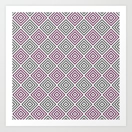 Burgundy, gray and white diamond rhombus pattern Art Print