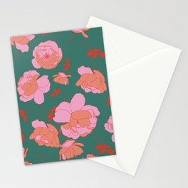 English Roses in Pink and Green Stationery Cards