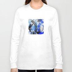 Baseball Abstract Blues Long Sleeve T-shirt