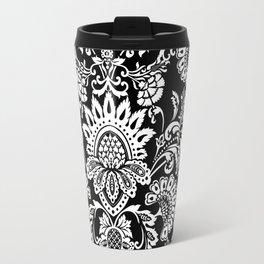 damask in white and black Travel Mug
